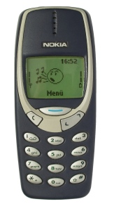 """Nokia 3310 blue R7309170 wp"" by smial (talk) - Own work. Licensed under Free Art License via Wikimedia Commons - http://commons.wikimedia.org/wiki/File:Nokia_3310_blue_R7309170_wp.jpg#mediaviewer/File:Nokia_3310_blue_R7309170_wp.jpg"